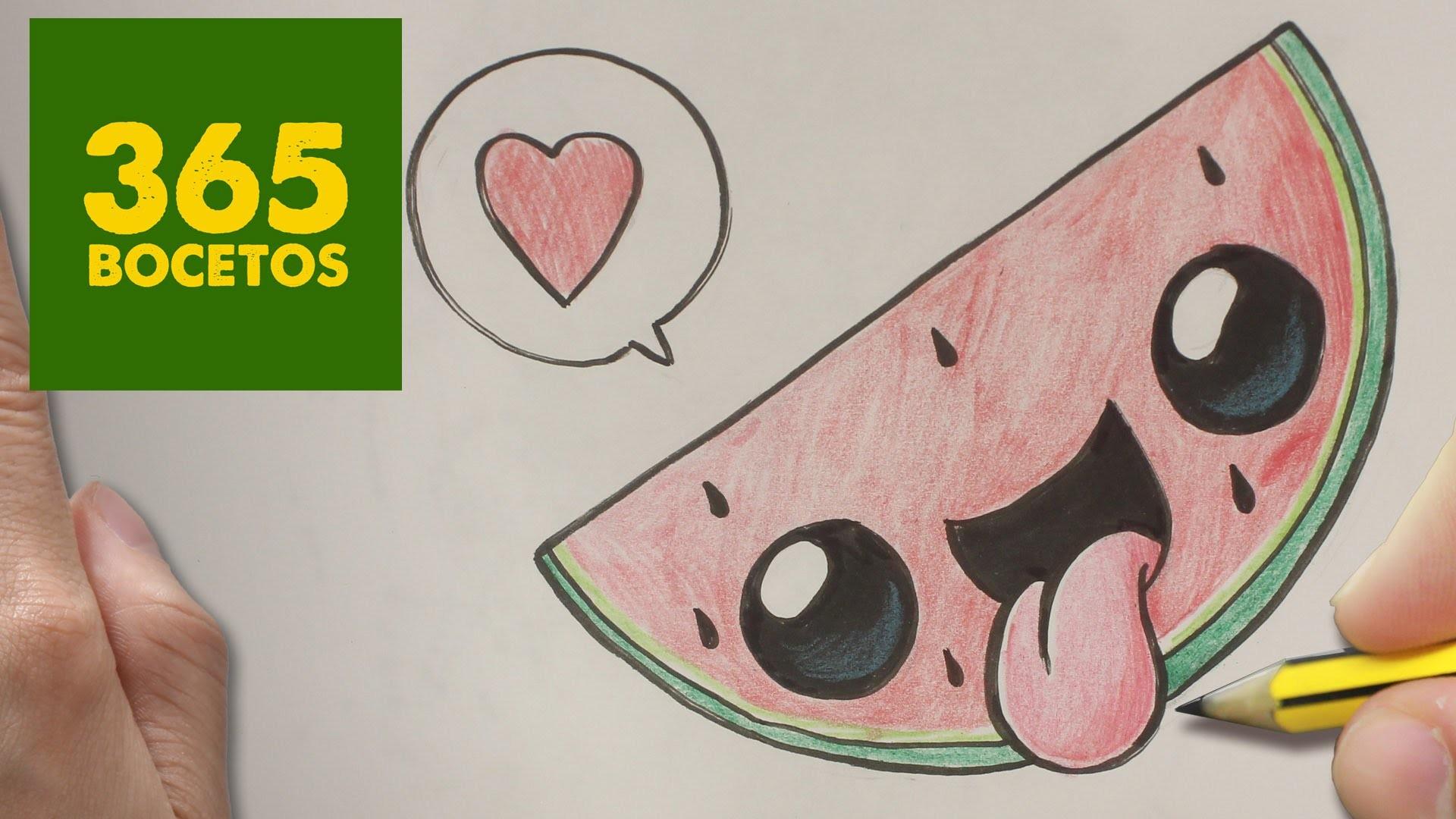 COMO DIBUJAR SANDIA KAWAII PASO A PASO - Dibujos kawaii faciles - How to draw a Watermelon