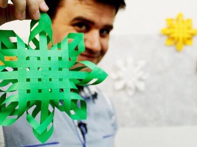 Como hacer copos de nieve 3d de papel (Navidad)