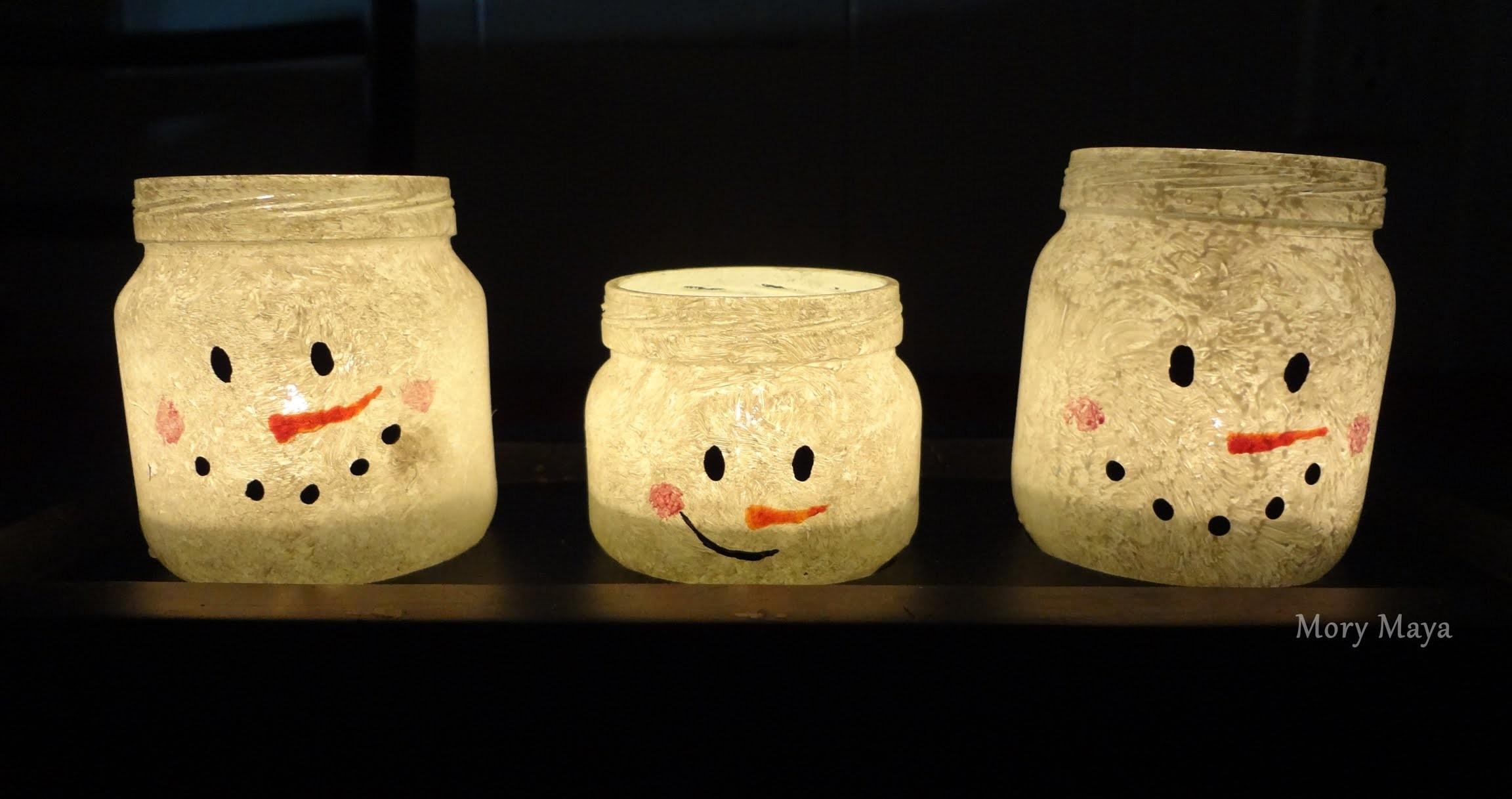 Como hacer porta velas muñeco de nieve, DIY decoración navideña