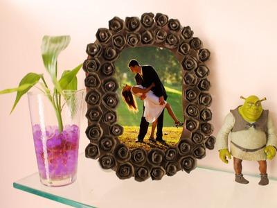 DIY Portaretrato con rosas de cartón de huevos - En 5 minutos o menos
