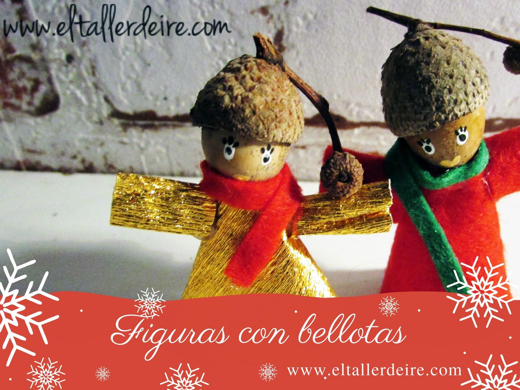 Figuras para el árbol de Navidad hechas con bellotas
