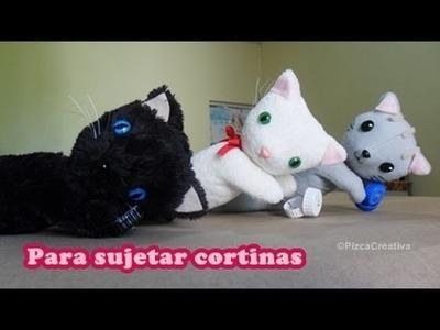 Gatito para sujetar tus cortinas con MOLDES GRATIS - Peluche FÁCIL