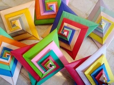 Origami espiral 3D , papiroflexia espiral fácil