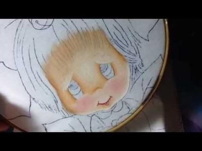 Pintura en tela niña nochebuena # 1 con cony