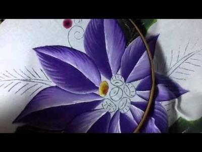 Pintura en tela nochebuena violeta # 2 con cony