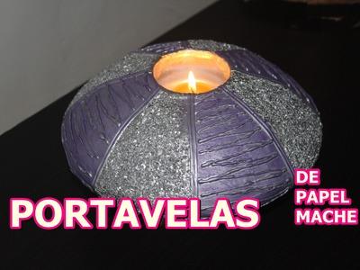 PORTAVELAS DE PAPEL MACHE
