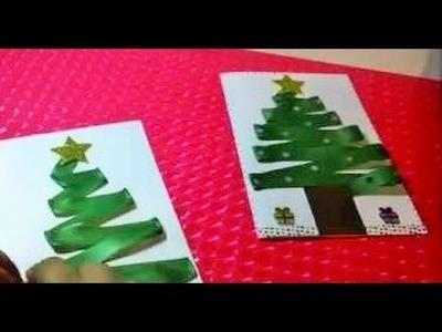 Tarjeta de Navidad con arbolito de navidad - Como hacer tarjeta de navidad