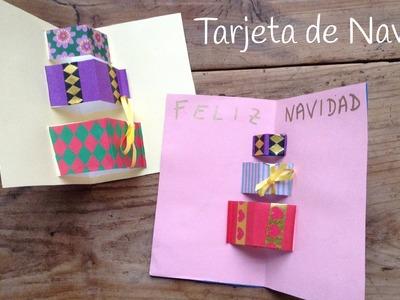 Tarjetas de Navidad en 3D de regalos - Manualidades navideñas fáciles