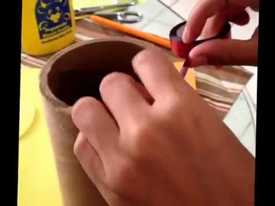 DIY Lapicera hecha Con producto reciclado (tubo de Cartón)