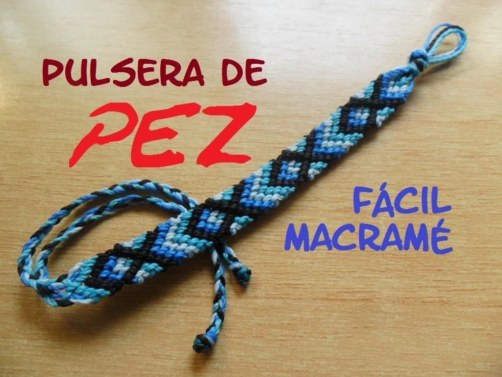 FÁCIL Pulsera Macramé PEZ. DIY. Easy Friendship bracelet macrame Fish