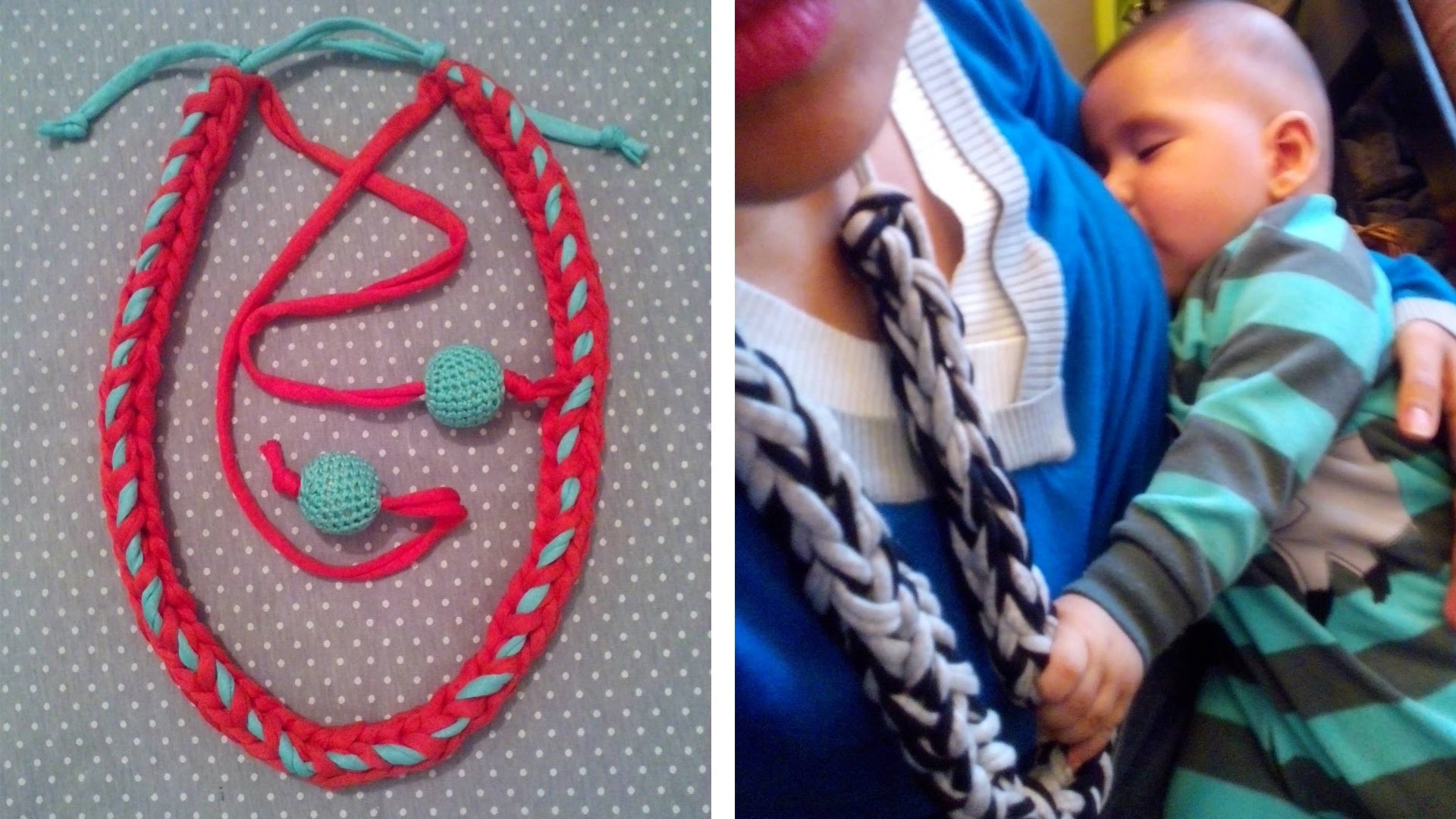 Collar de lactancia y Porteo de trapillo. tutorial, nursing necklace, t-shirt yarn