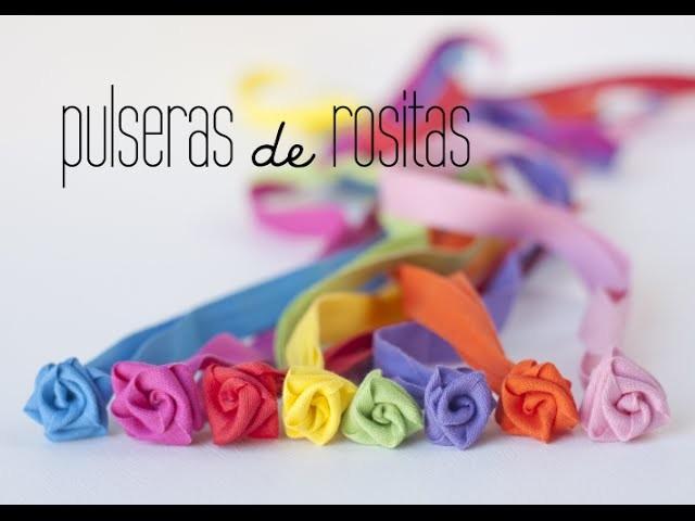 DIY: pulseras de rosas de tela. fabric roses bracelets