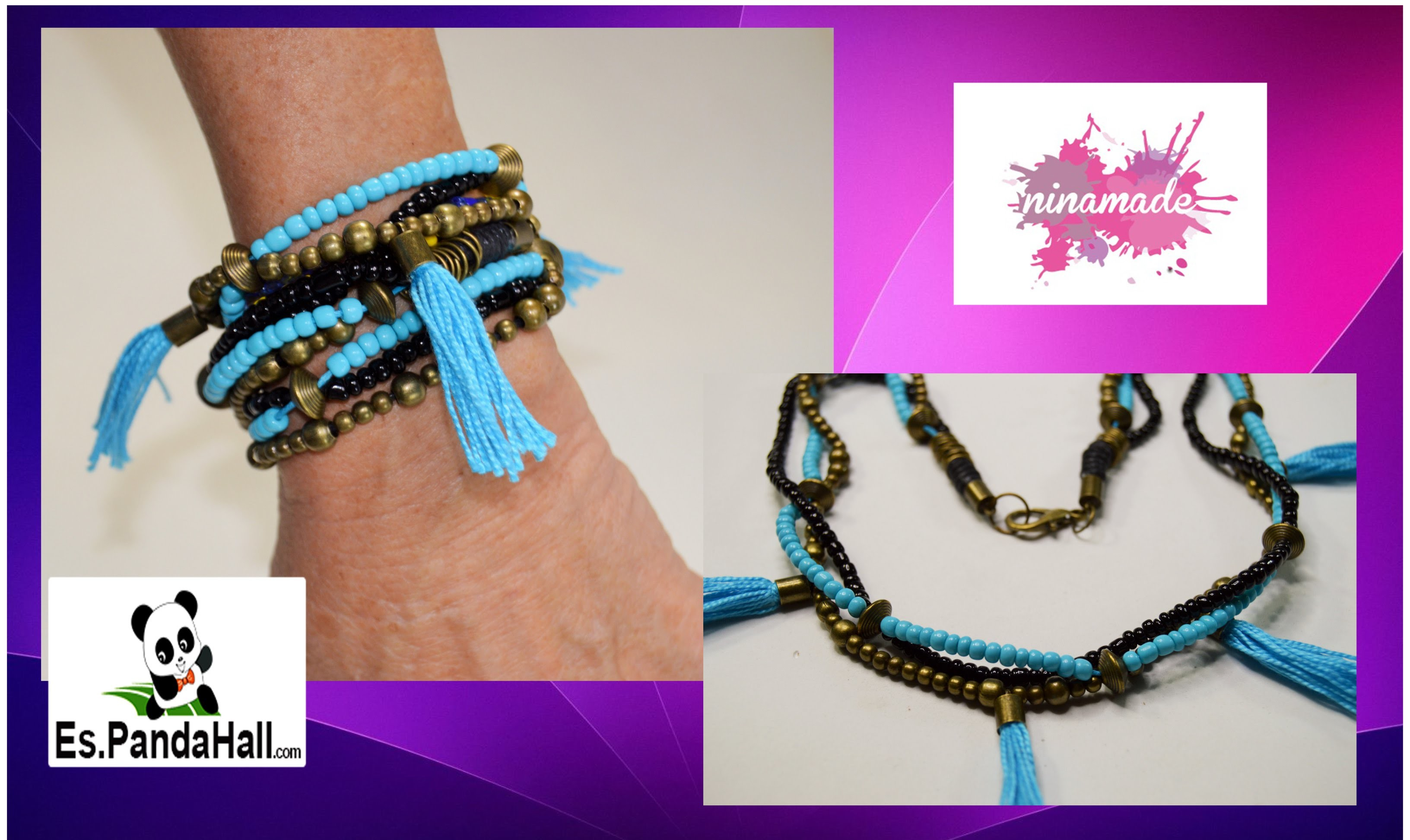 DIY. Tuto 20.Collar.pulsera bronce y turquesa. Necklace bronze and turquoise.Es.Pandahall.com