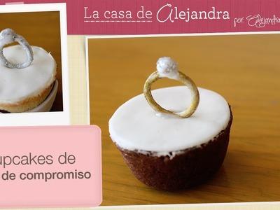 Cupcakes de anillo de compromiso - DIY Engagement ring cupcakes