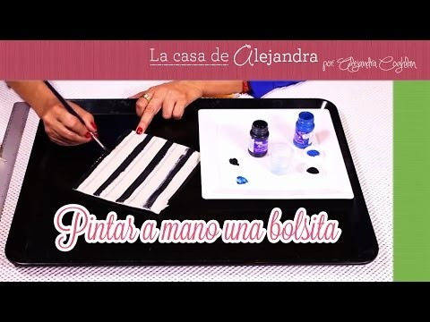 Pintar a mano una bolsita  DIY Alejandra Coghlan