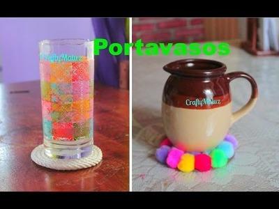 DIY: Portavasos de MECATE. POMPONES