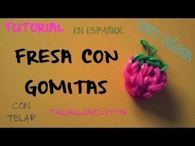 TUTORIAL DE COMO HACER FRESAS CON GOMITAS ELÁSTICAS EN TELAR (ESPAÑOL) STRAWBERRY