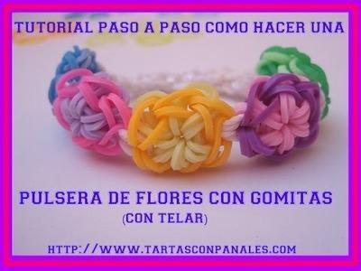 Tutorial paso a paso como hacer Pulsera de flores con gomitas Tartas con pañales AfieltroyPañal