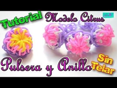♥ Tutorial: Pulsera y Anillo Citrus de gomitas (sin telar) ♥