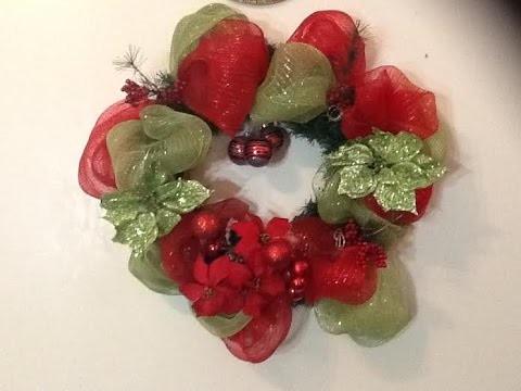 Diy How to make Deco Mesh Wreath.como hacer una corona Deco Mesh para Navidad.by Itzomex