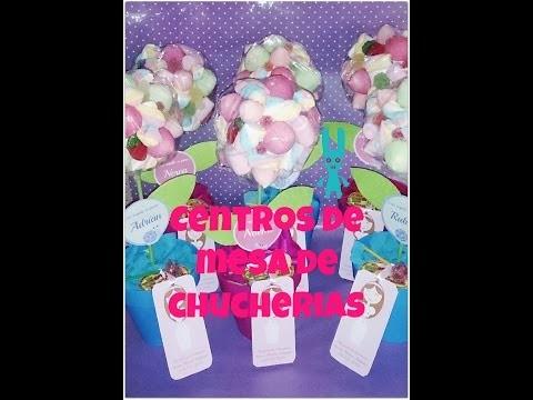 DIY Centro de mesa para Comunión con forma de flor y chucherías