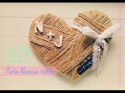 DIY Porta alianzas rústico en forma de corazón. Ring pillow heart