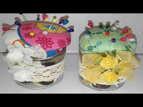 Alfiletero o acerico con tarro de cristal facil DIY Reciclaje Manoliodades