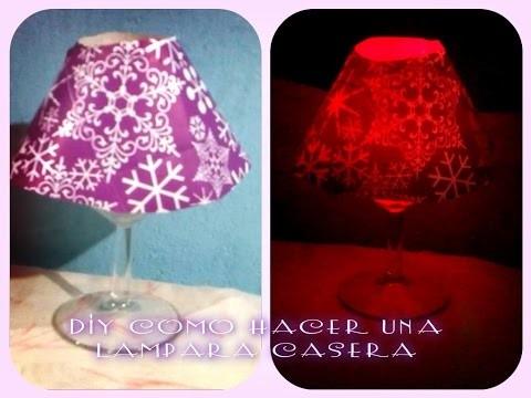 DIY Cómo hacer lámpara casera con Copas de Vino. Lámparas decorativas