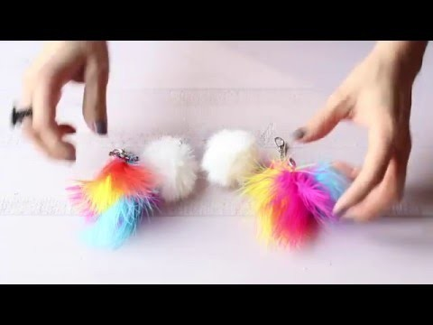 DIY: Como hacer llaveros de plumas y peluche How to make feather keychain