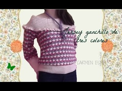 DIY: JERSEY GANCHILLO DE TRES COLORES