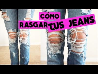 DIY rasga tus jeans. RIPPED JEANS ft.  Erika Goncalves | Vicky Alvarez
