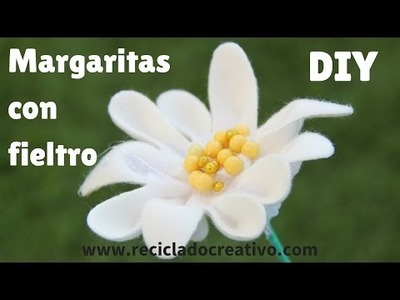 Cómo hacer margaritas con retales de fieltro - DIY How to make daisys out of felt