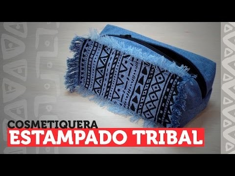 DIY - cosmetiquera o cartuchera con estampado tribal ¡JEAN RECICLADO!