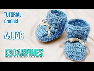 DIY Escarpines punto puff | Crochet AJUAR varón