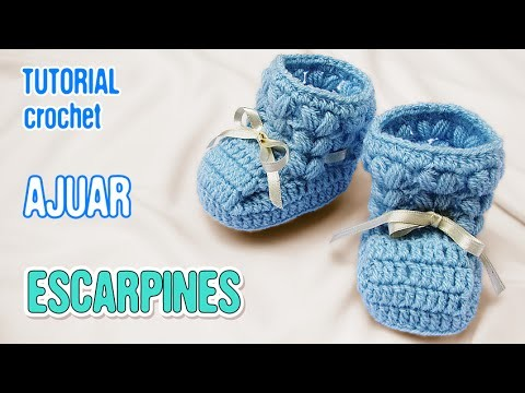 DIY Escarpines punto puff   Crochet AJUAR varón