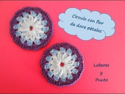 Aprende a tejer este circulo flor 12 petalos a ganchillo o crochet