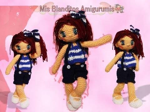 Como hacer vestido para muñeca a crochet. Marinera Lilia