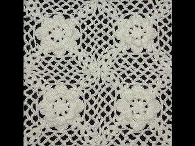 Crochet : Cuadrado con Flor