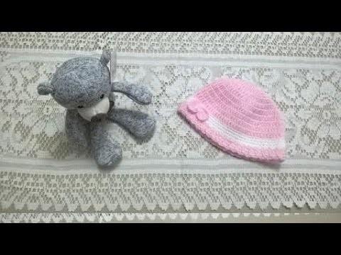 Gorrita de bebé en crochet o ganchillo