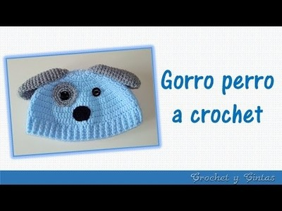 Gorro perrito tejido a crochet para niños