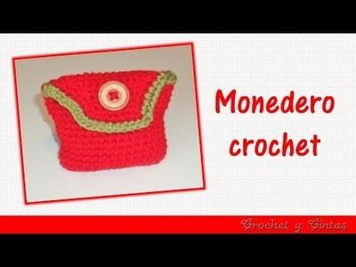 Monedero con botón tejido a crochet