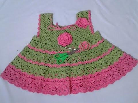 Vestido para niña a crochet cualquier talla paso a paso parte 2.3