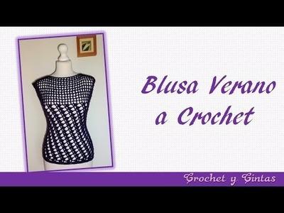 Blusa verano con puntos combinados a crochet para mujer – Parte 1