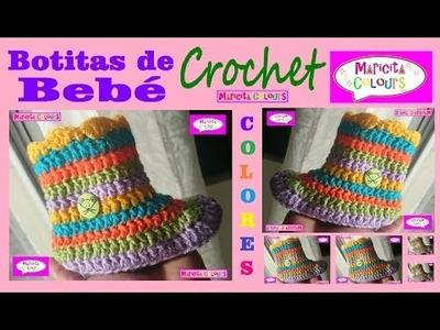 "Botitas para Bebé Unisex ""Colores"" Crochet Tutorial Gratis por Maricita Colours"