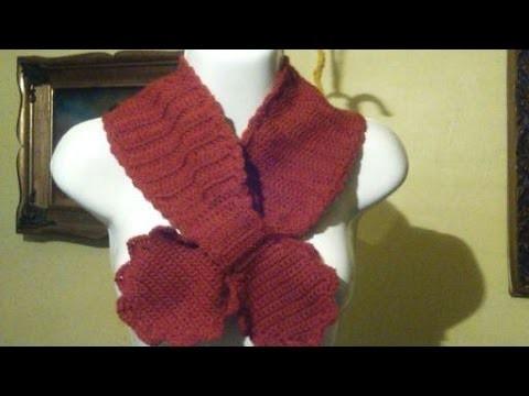 Bufanda a crochet con enlace de moñito. 2a.Parte.
