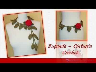 Bufanda – Cinturón con rosa tejida a crochet ganchillo