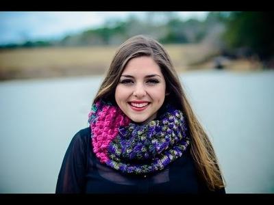 Bufanda infinita tejida a crochet Punto Petalos esparcidos 001