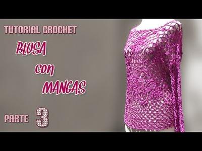 Como tejer blusa con mangas a crochet (3.3)