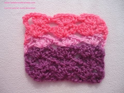 Crochet tutorial punto abanicos en escalera