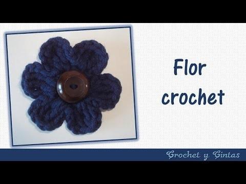 Flor con botón tejida a crochet ganchillo